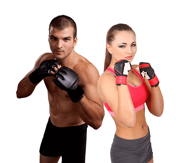 Mixed Martial Arts Lessons for Adults in North Richland Hills TX - Hands up Fitness MMA Man and Woman Footer Banner