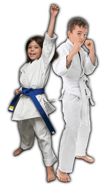 Martial Arts Lessons for Kids in North Richland Hills TX - Happy Blue Belt Girl and Focused Boy Banner