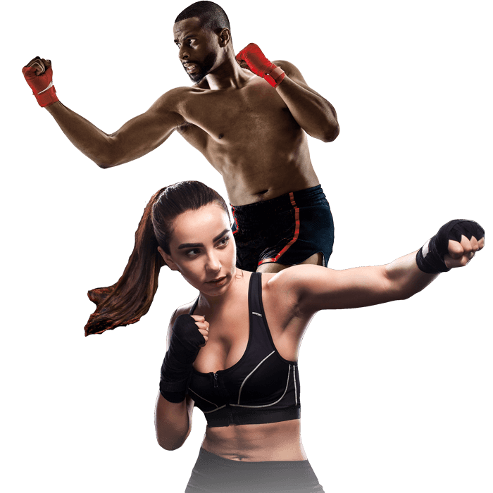 Mixed Martial Arts Lessons for Adults in North Richland Hills TX - Man and Woman Punching Hooks